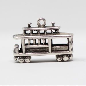 Sterling Silver 3D Trolly Car Charm Pendant